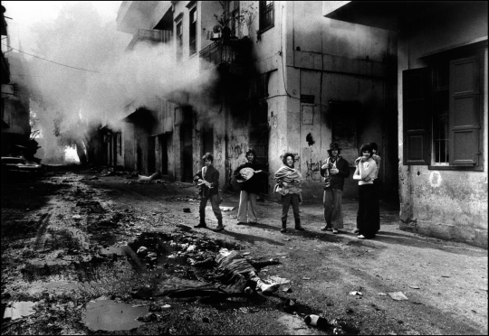 Lebanese fighters playing guitar don mccullin photo